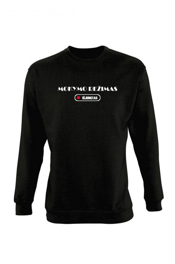 Juodas džemperis su užrašu Mokymo režimas išjungtas