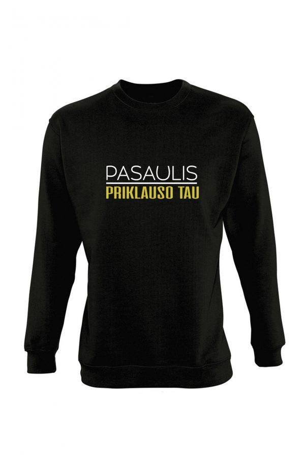 Juodas džemperis su užrašu Pasaulis priklauso tau