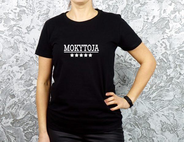 Juodi moteriški marškinėliai mokytojai su užrašu 5 žvaigždučių mokytoja