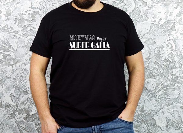 Juodi vyriški marškinėliai Mokymas mano super galia