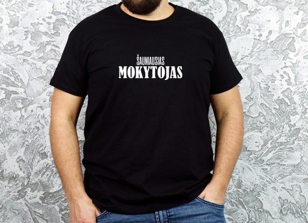 Juodi vyriški marškinėliai Šauniausias mokytojas