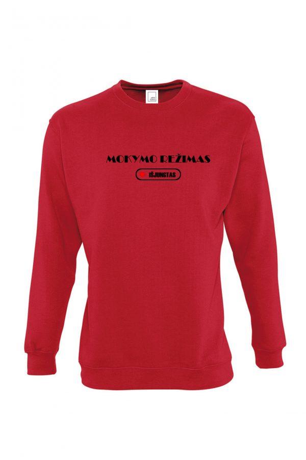 Raudonas džemperis su užrašu Mokymo režimas išjungtas