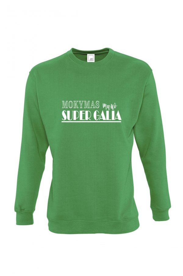 Žalias džemperis su baltu užrašu Mokymas mano super galia