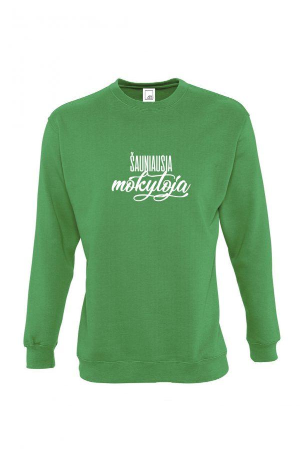 Žalias džemperis su baltu užrašu Šauniausia mokytoja