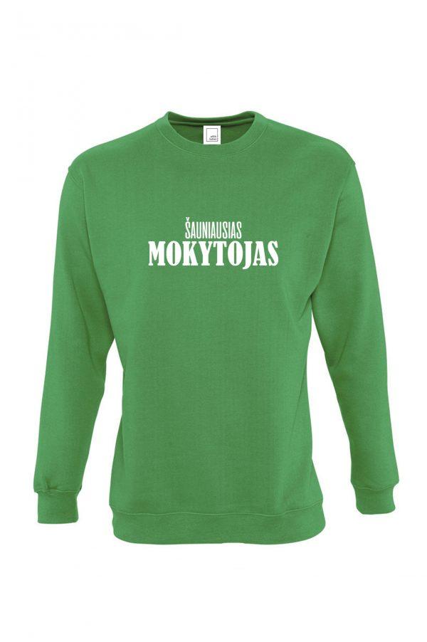 Žalias džemperis su baltu užrašu Šauniausias mokytojas