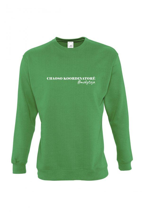 Žalias džemperis su užrašu Chaoso koordinatorė mokytoja