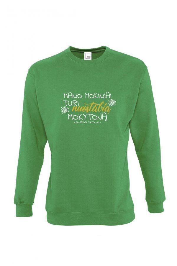 Žalias džemperis su užrašu Mano mokiniai turi nuostabią mokytoją