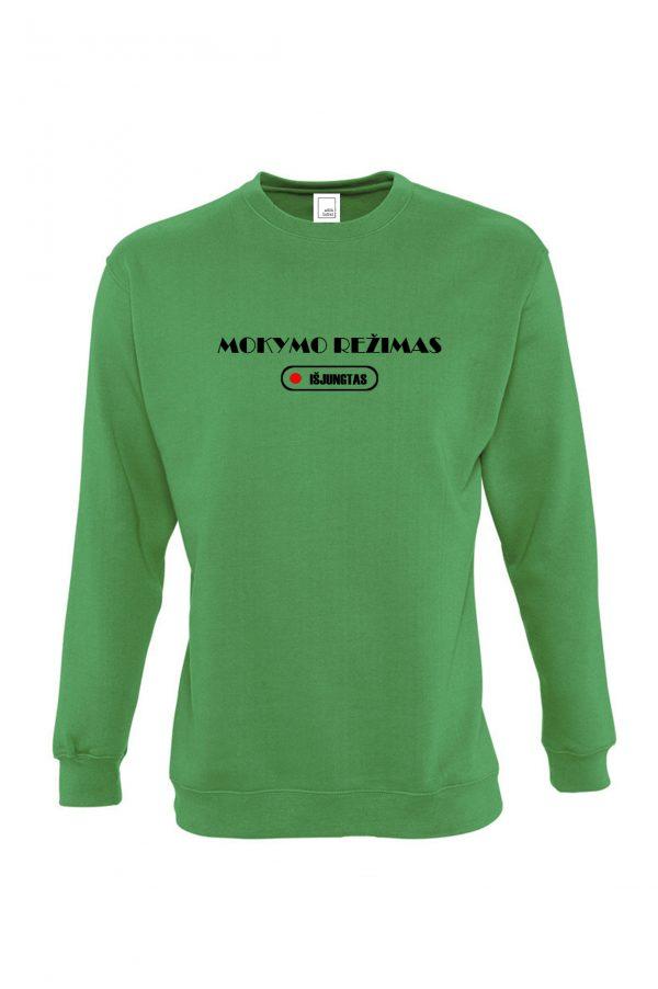 Žalias džemperis su užrašu Mokymo režimas išjungtas