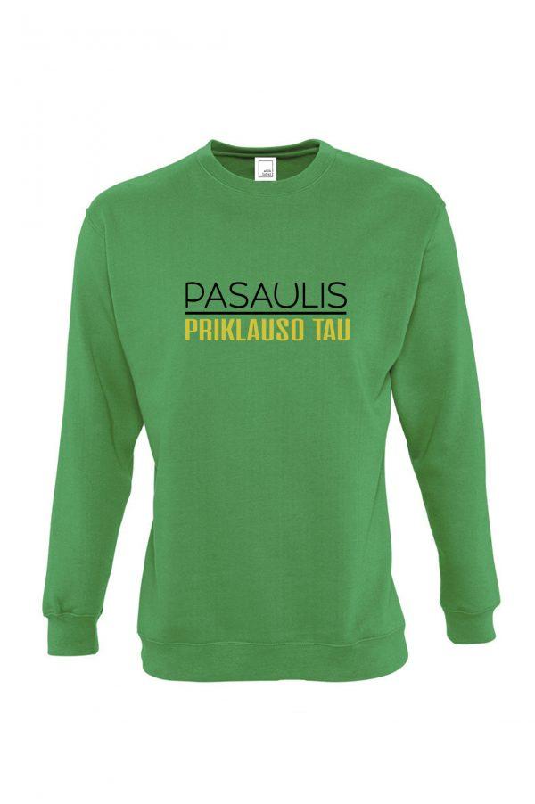 Žalias džemperis su užrašu Pasaulis priklauso tau