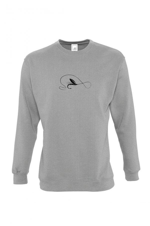 pilkas džemperis muselinė žvejyba