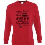 raudonas džemperis Tarptautinis Jonas