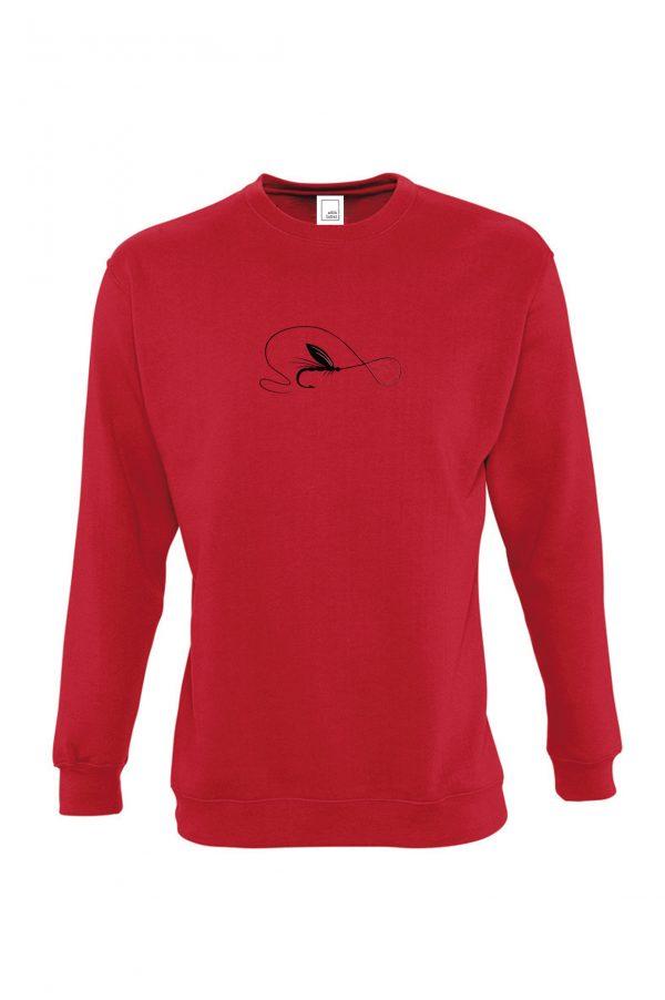 raudonas džemperis muselinė žvejyba