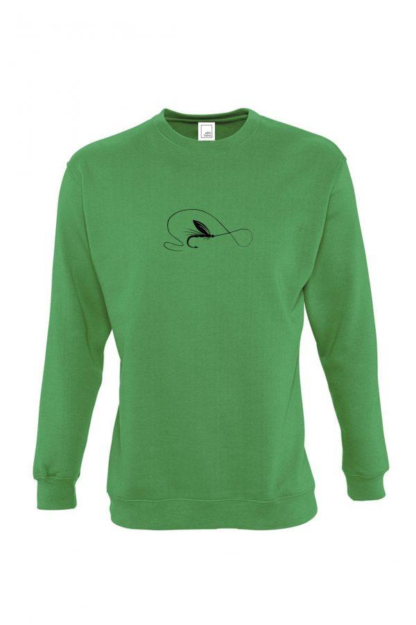 žalias džemperis muselinė žvejyba