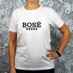 Balti moteriški marškinėliai su užrašu Bosė