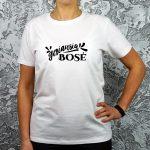 Balti moteriški marškinėliai su užrašu Geriausia bosė