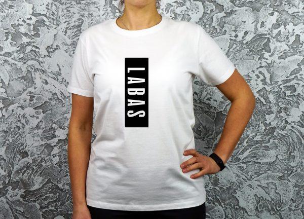 Balti moteriški marškinėliai su užrašu Labas