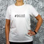 Balti moteriški marškinėliai su užrašu #bosė
