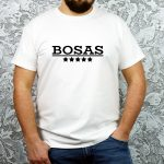 Balti vyriški marškinėliai su užrašu Bosas