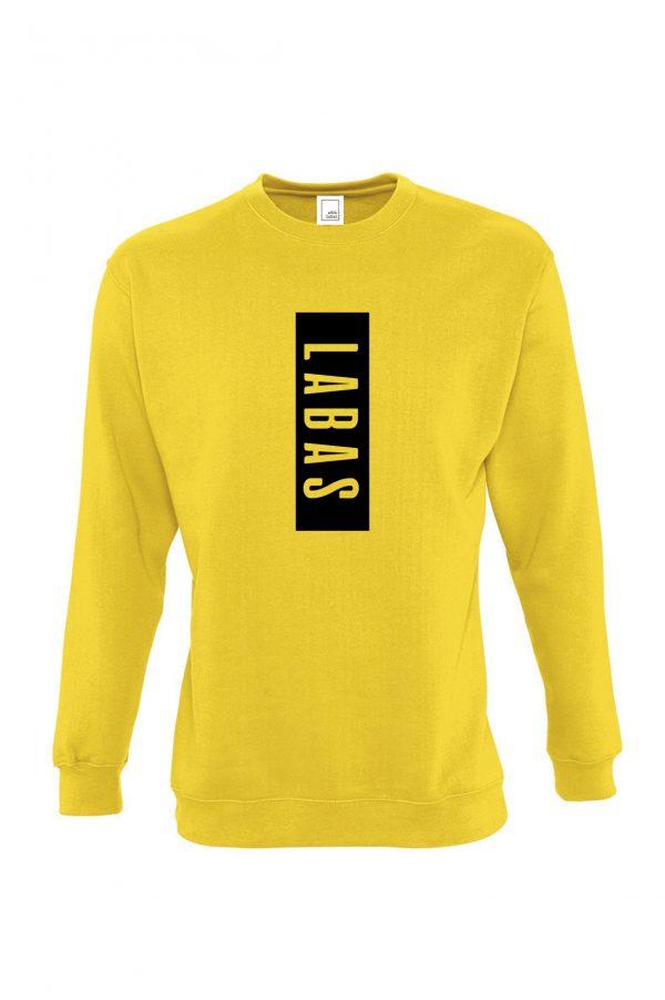 Geltonas džemperis su užrašu Labas