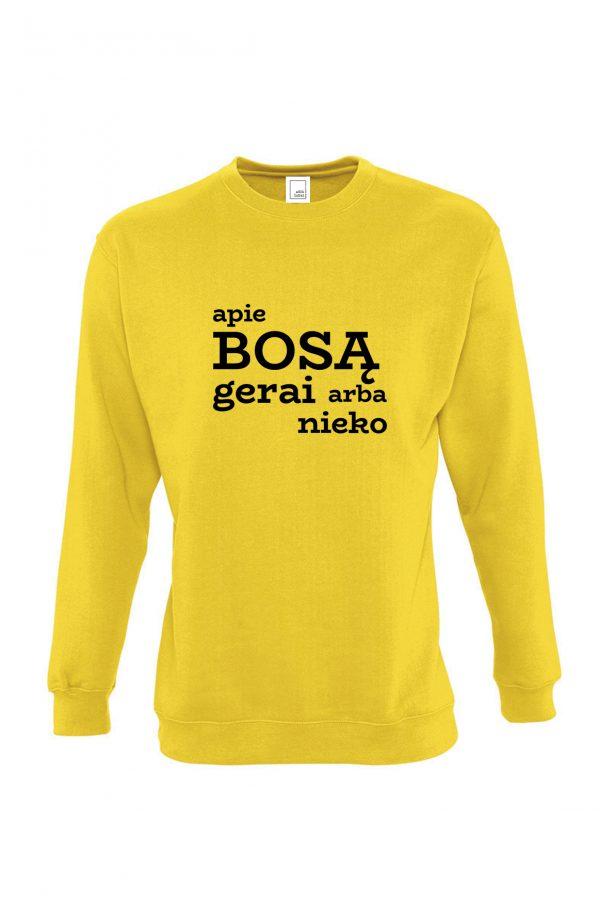Geltonas džemperis su užrašu apie bosą gerai arba nieko