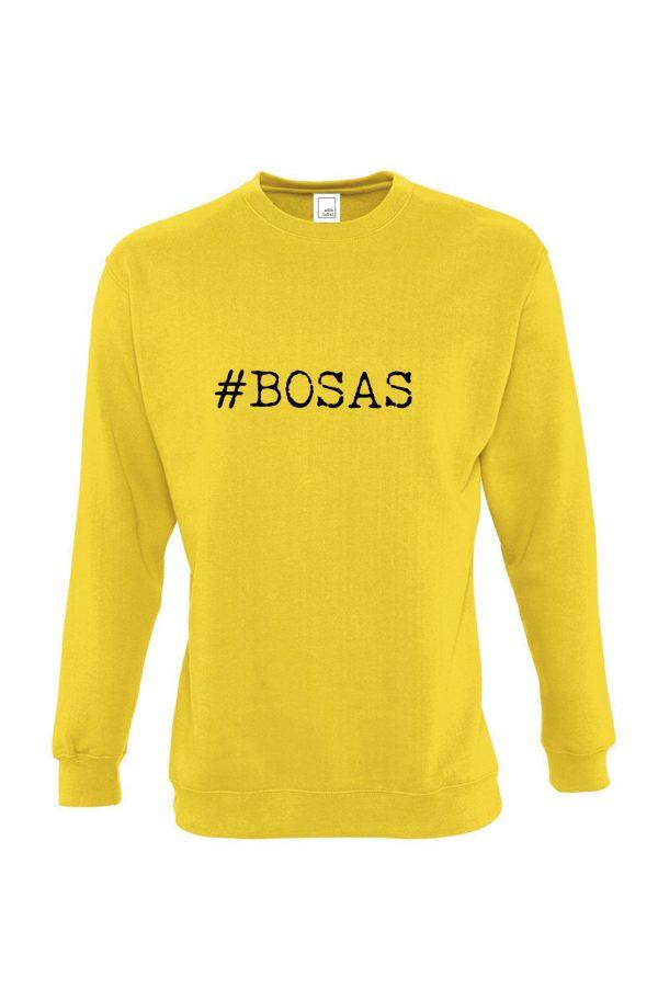 Geltonas džemperis su užrašu #bosas