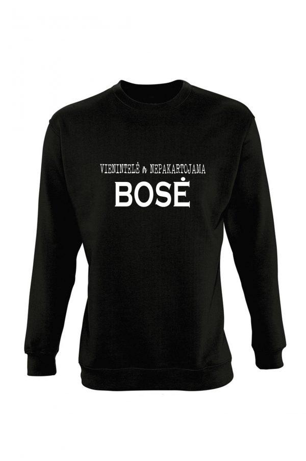 Juodas džemperis su užrašu Vienintelė ir nepakartojama bosė