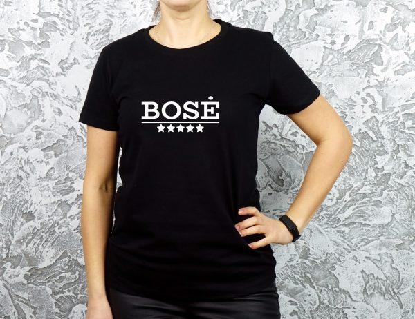 Juodi moteriški marškinėliai su užrašu Bosė
