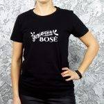 Juodi moteriški marškinėliai su užrašu Geriausia bosė