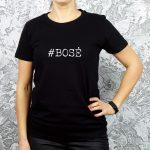 Juodi moteriški marškinėliai su užrašu #bosė