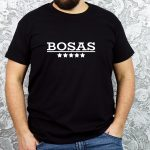 Juodi vyriški marškinėliai su užrašu Bosas