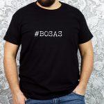 Juodi vyriški marškinėliai su užrašu #bosas