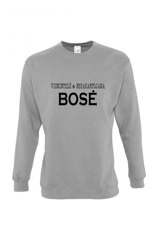 Pilkas džemperis su užrašu Vienintelė ir nepakartojama bosė