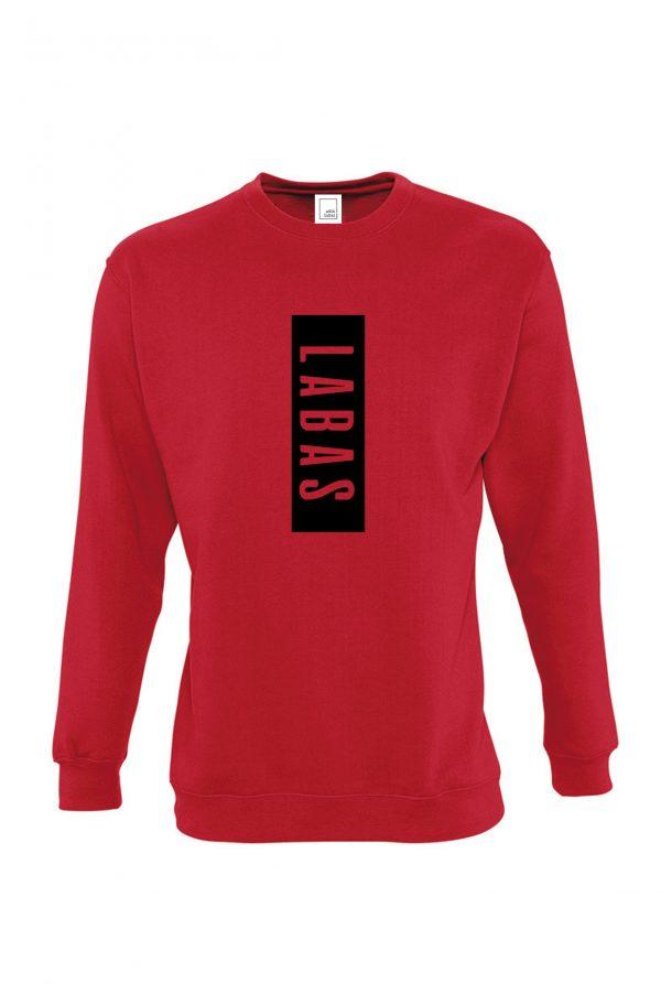 Raudonas džemperis su užrašu Labas