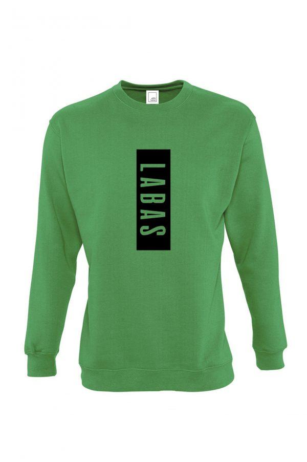 Žalias džemperis su užrašu Labas